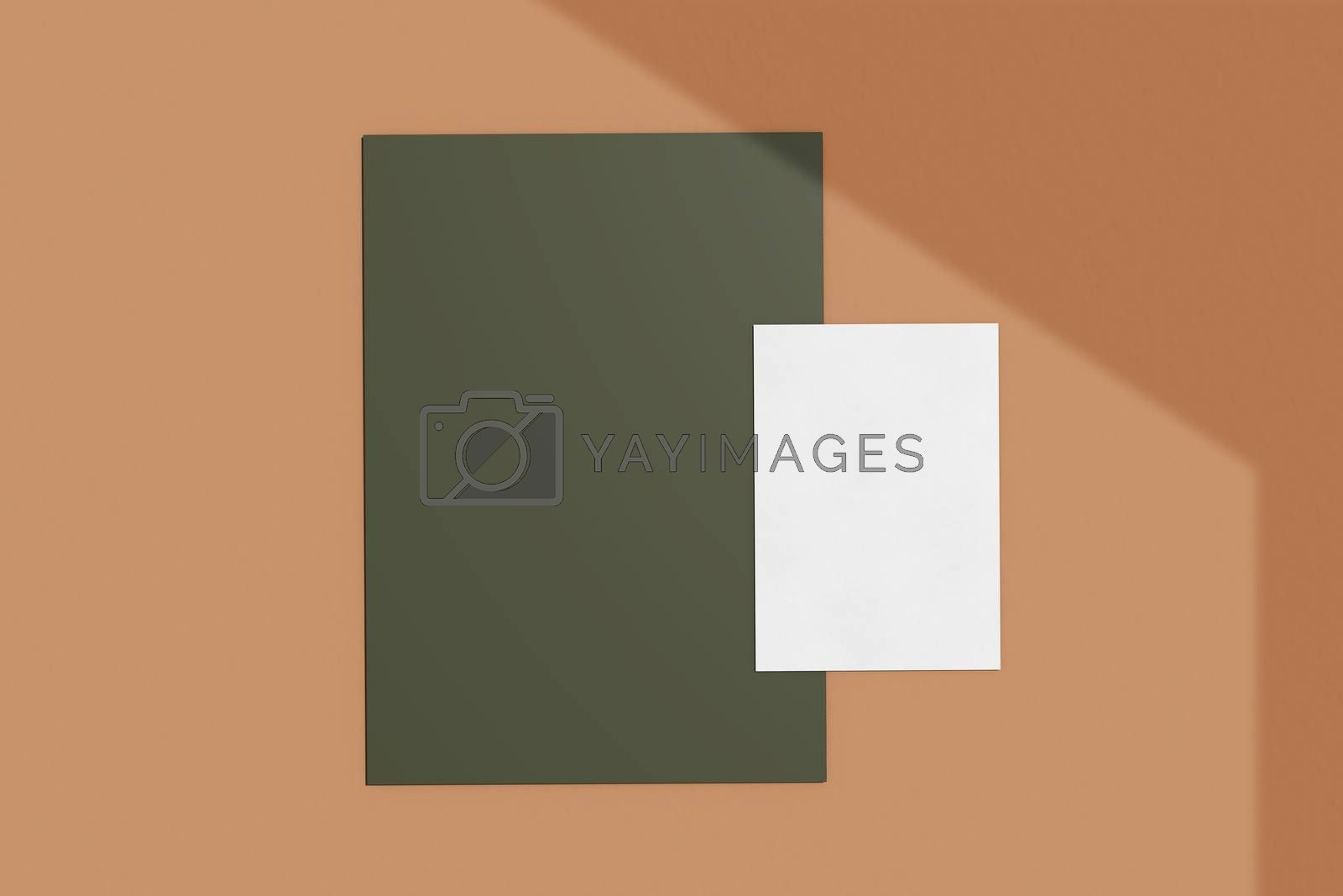 Branding identity mockup of blank business card and paper natural lighting overlay shadows, minimal layout style