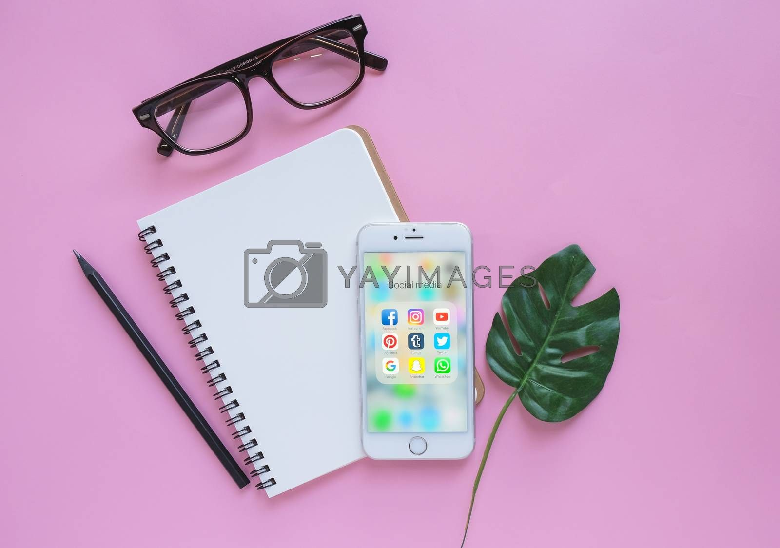 BANGKOK, THAILAND - NOVEMBER 28, 2016:  Group of Popular Social networks icons showing on Apple iPhone 6s screen with notebook, eyeglasses and green plant on pink background on pink background, Social media are most popular tool for communication.