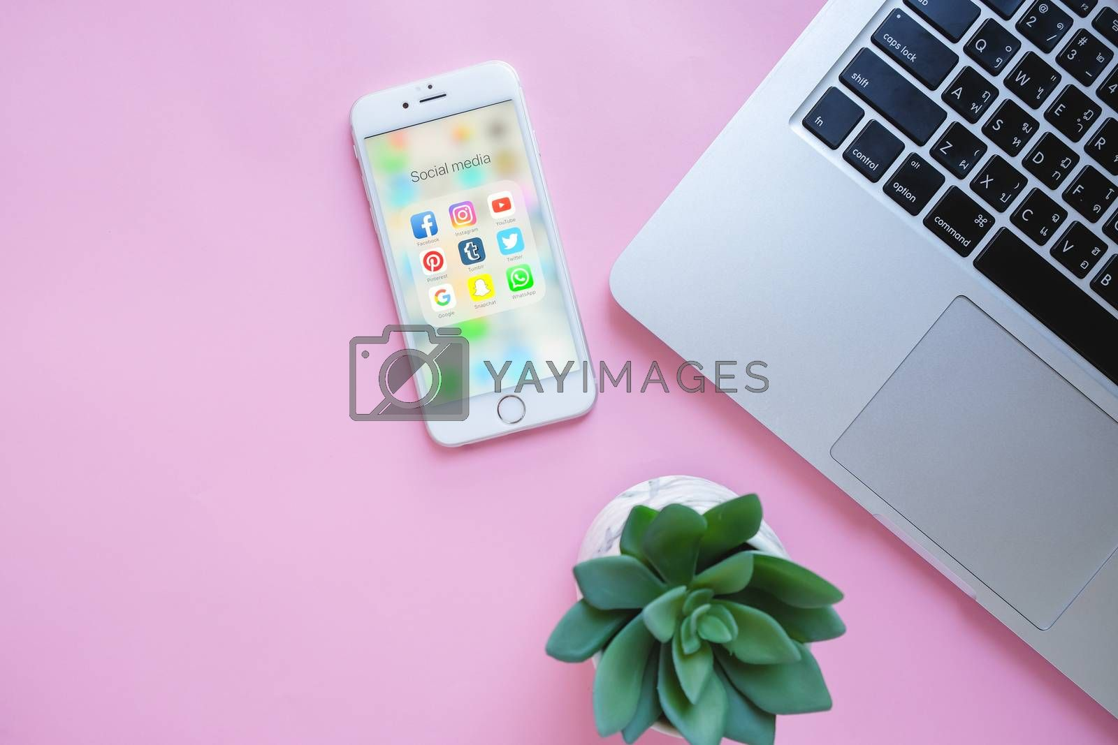 BANGKOK, THAILAND - NOVEMBER 28, 2016:  Group of Popular Social networks icons showing on Apple iPhone 6s screen with laptop and green plant on pink background, Social media are most popular tool for communication.