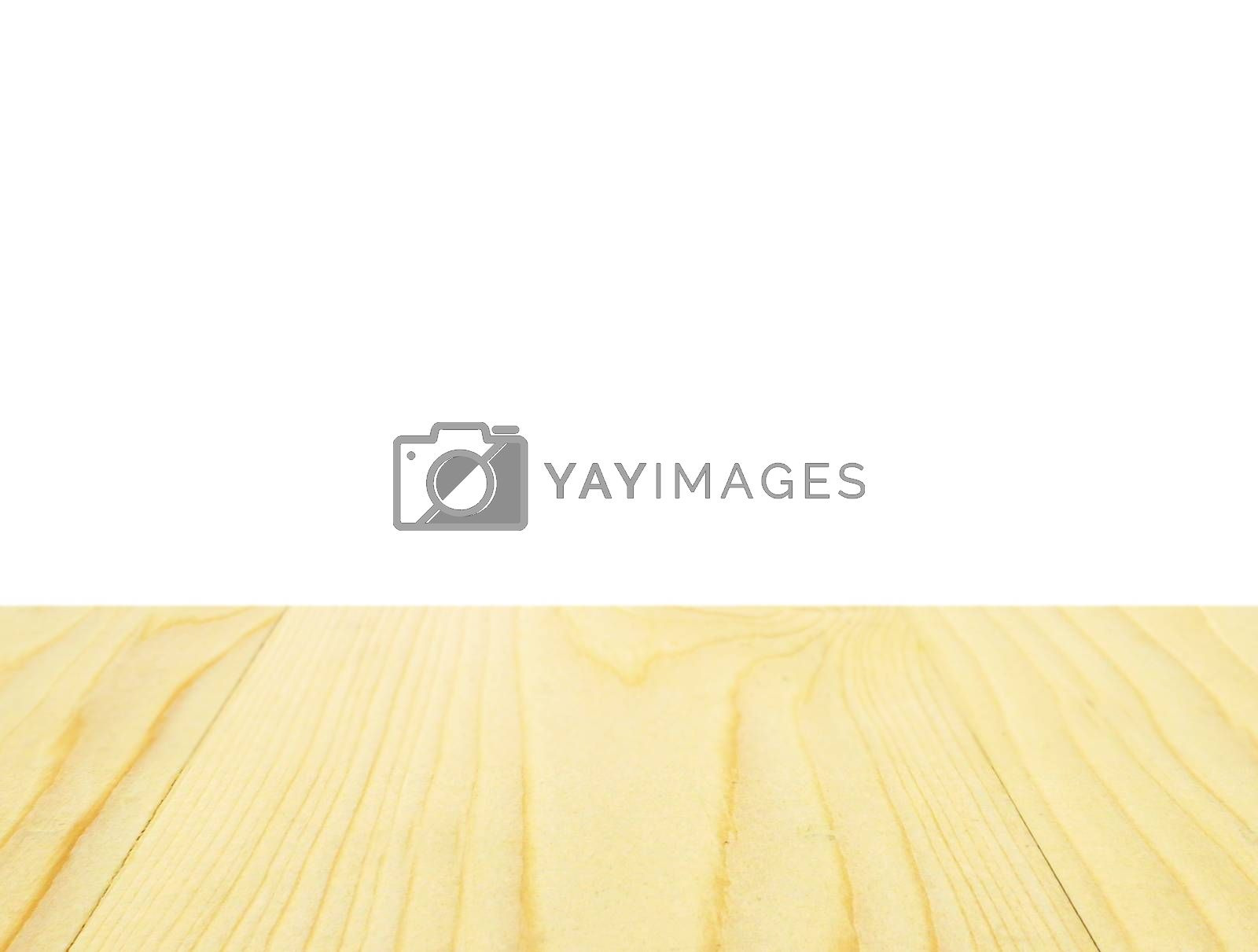 Empty wooden table top for product placement with white background