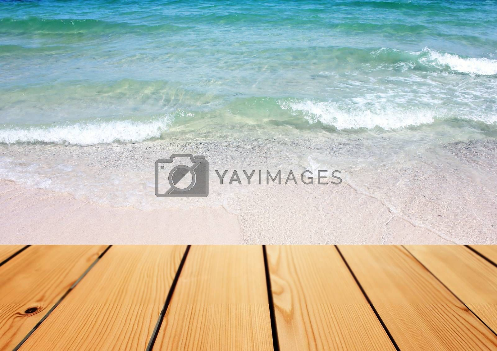 Empty wooden deck table over sea background, Summer concept