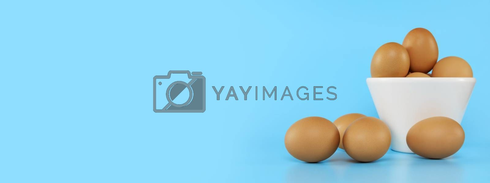 Fresh chicken eggs in white bowl and chicken eggs on blue background with copy space. Uncooked raw eggs in bowl isolated banner.