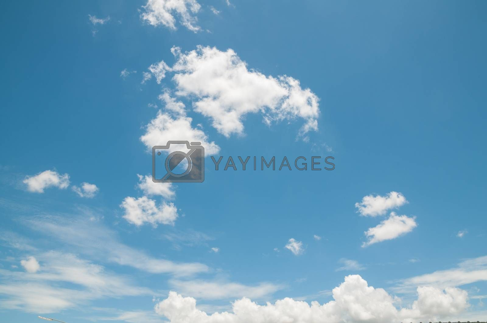Blue sky with white cloud on summer time as Natural Environment for use as Background.