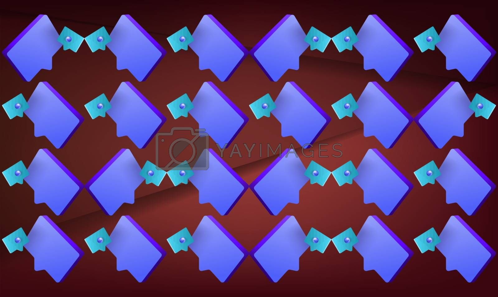 digital textile design of chat objects on abstract background
