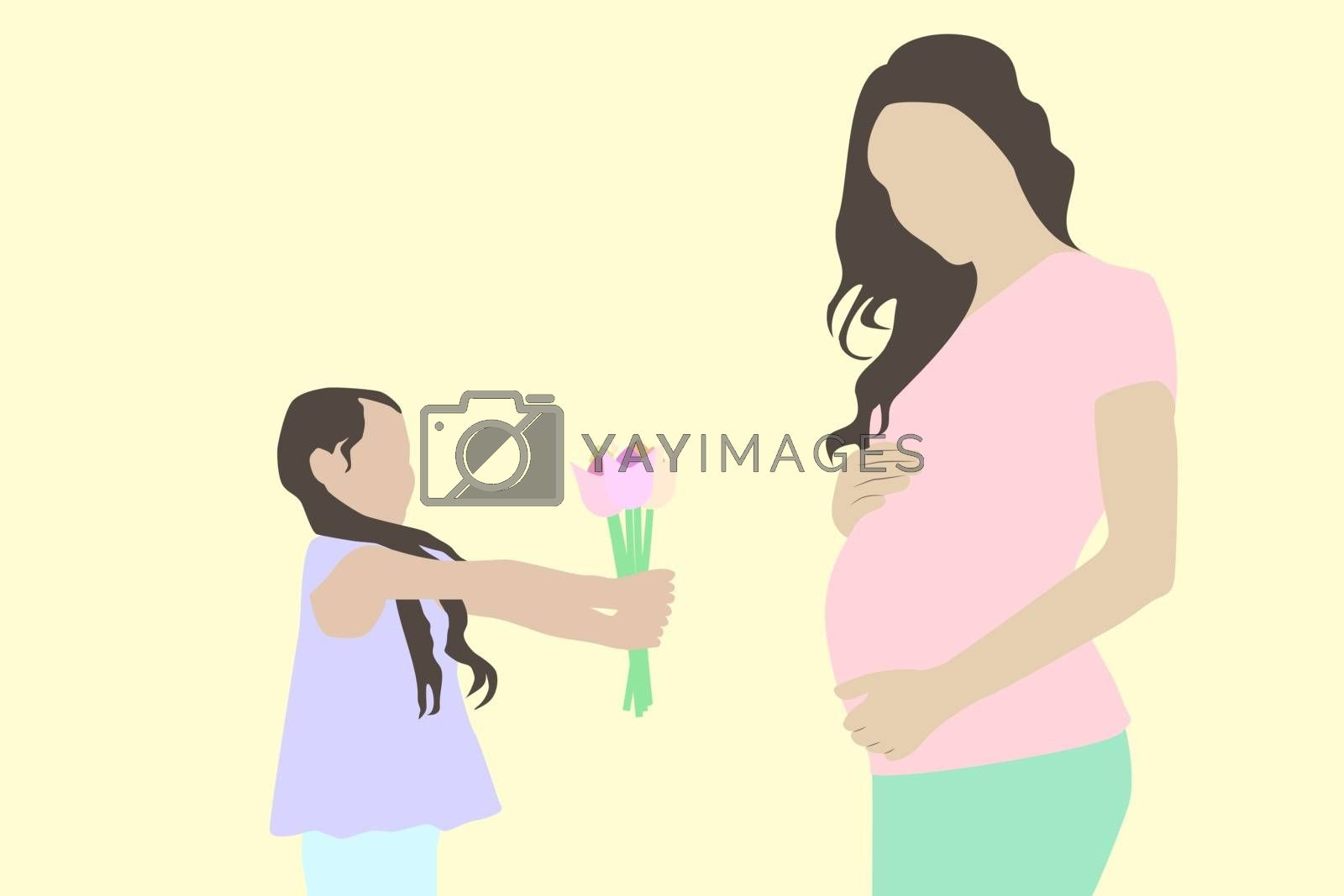 Little girl offering flowers to her pregnant mother for the mothers day vector design illustration