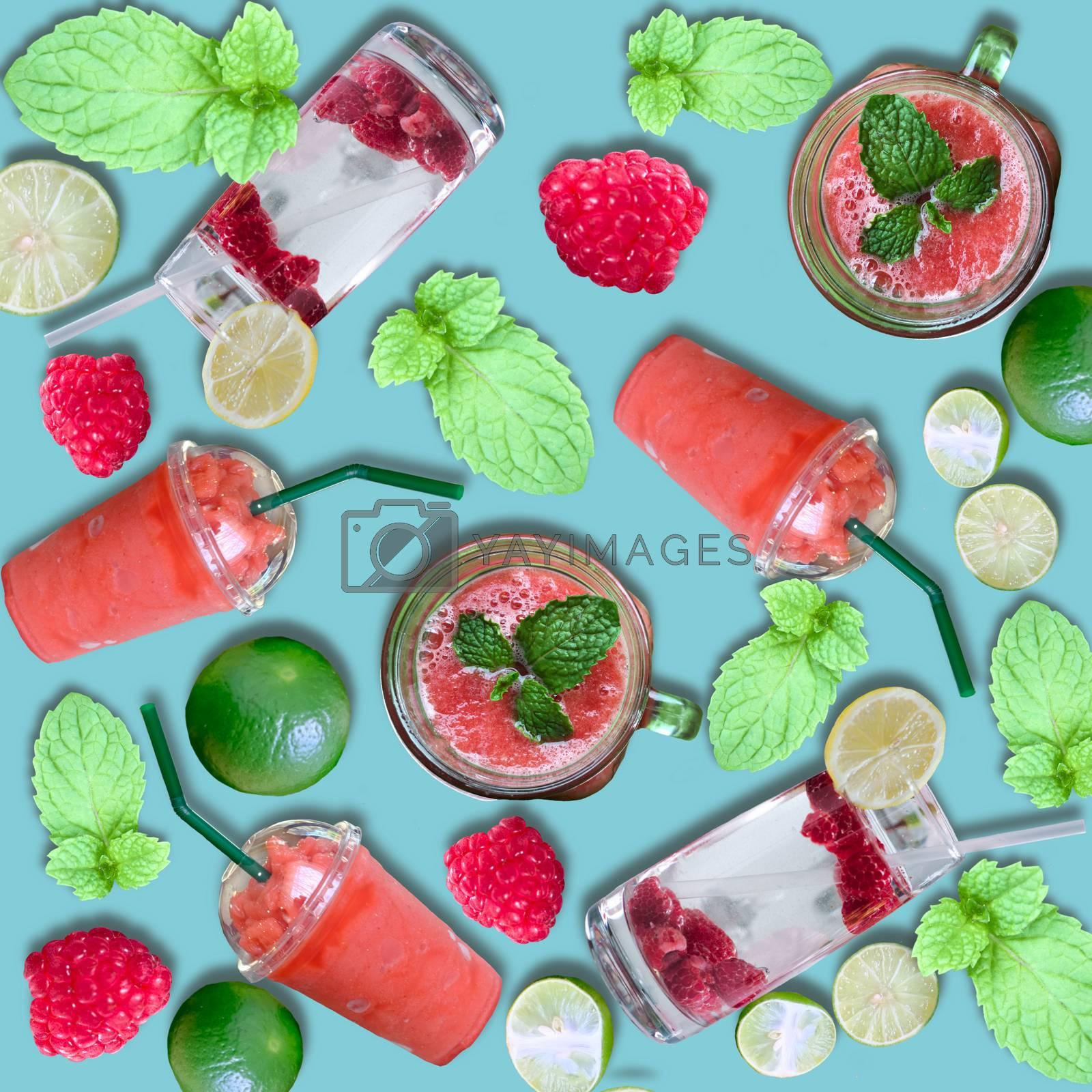 background of homemade refreshing fruit beverage. Varied fresh beverage in glasses. Refreshing lemonade. Breakfast healthy vitamin drink diet or vegan food concept.