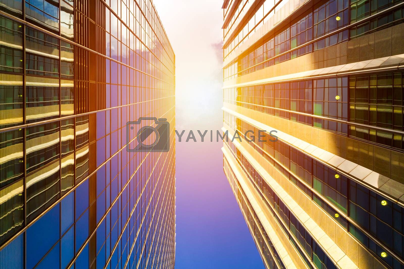 Cityscape featuring modern office exterior from a low angle at sunset.