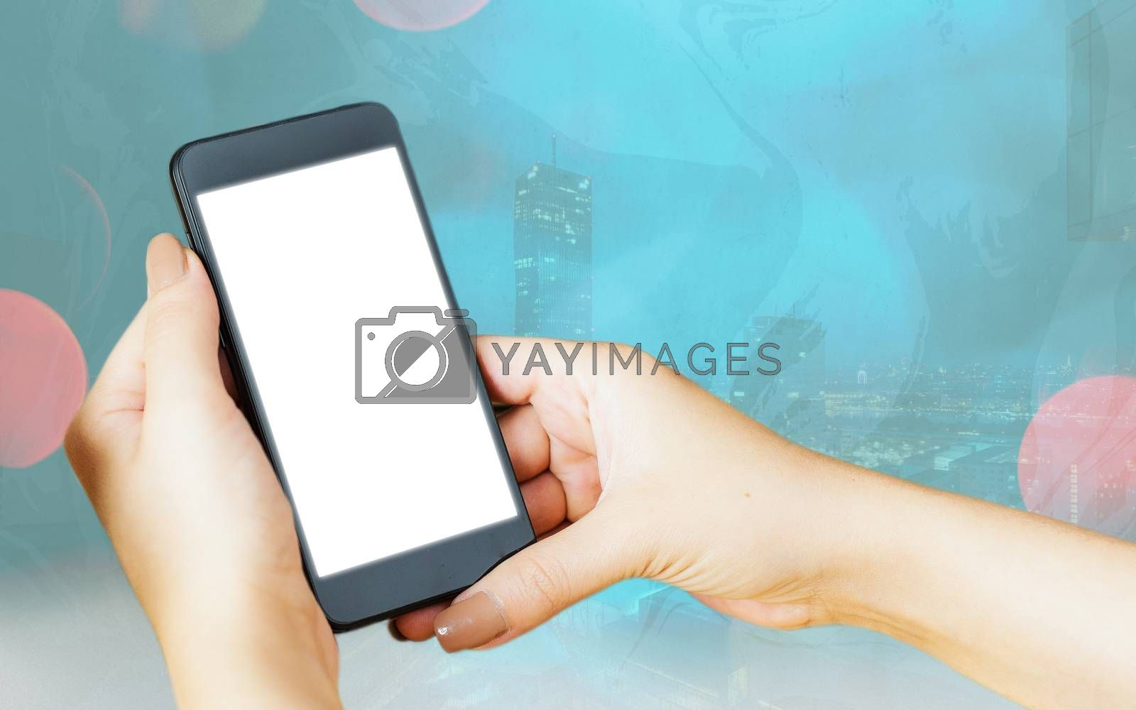Modern Gadgets With White Display Screen Under Colorful Bokeh Background