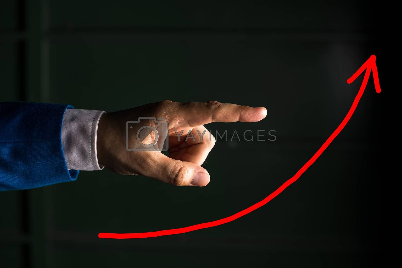 Digital Arrowhead Curve Rising Upward Denoting Growth Development Concept