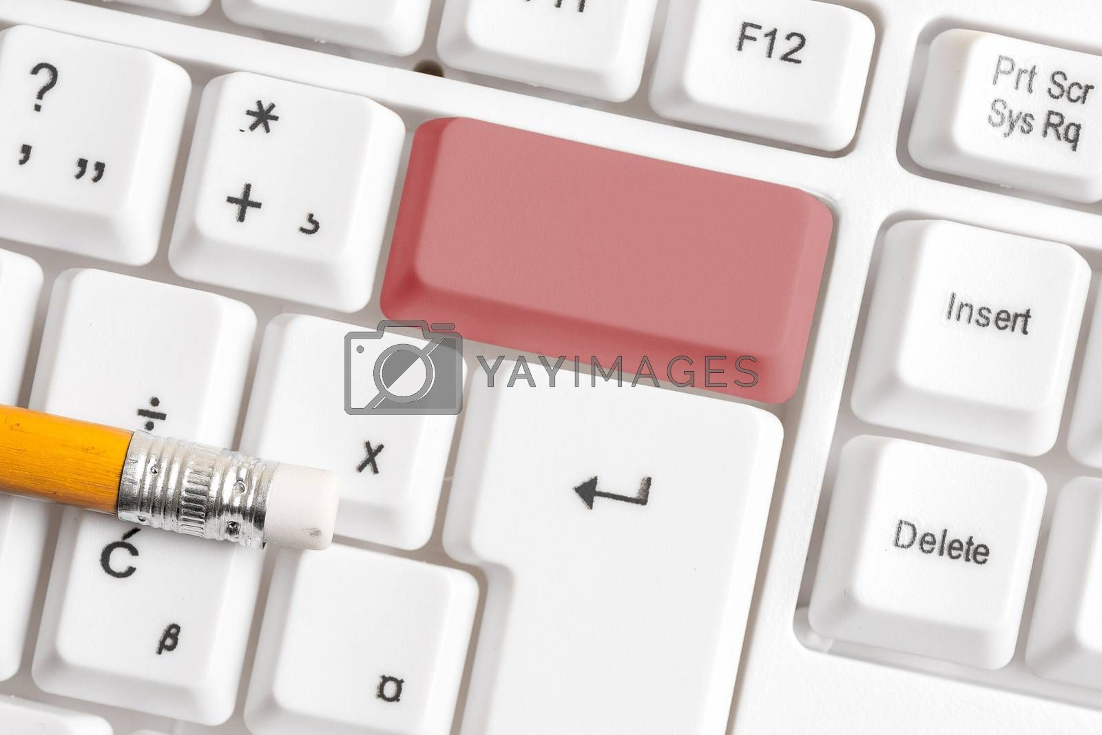 White Pc Keyboard With Empty Note Paper Above White Key Copy Space