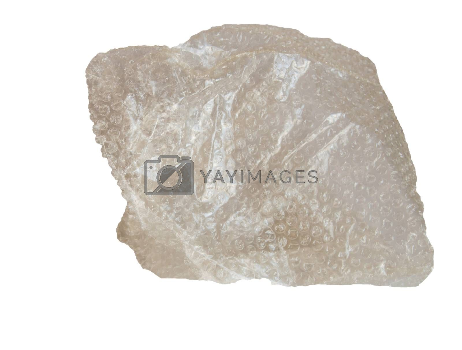 A piece of bubble-bursting plastic protective cellophane for packaging, isolated on a white background.