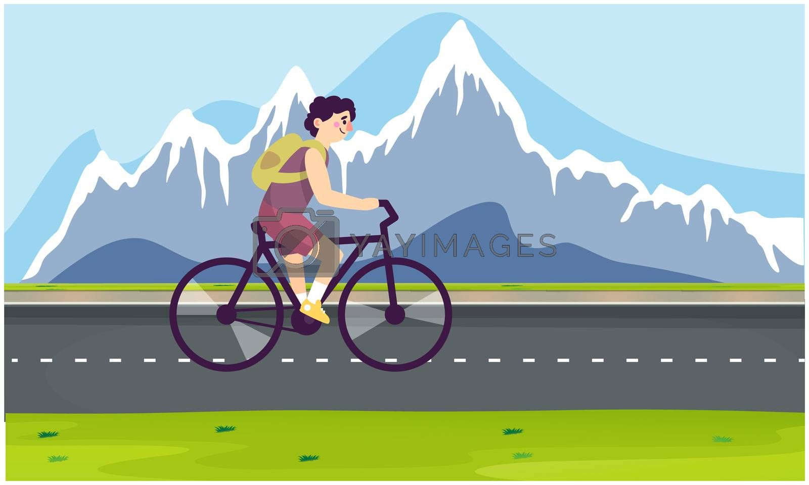 boy is riding bicycle on the road