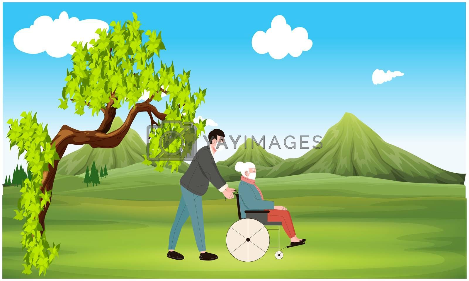 man walking in a garden with his old grandmother