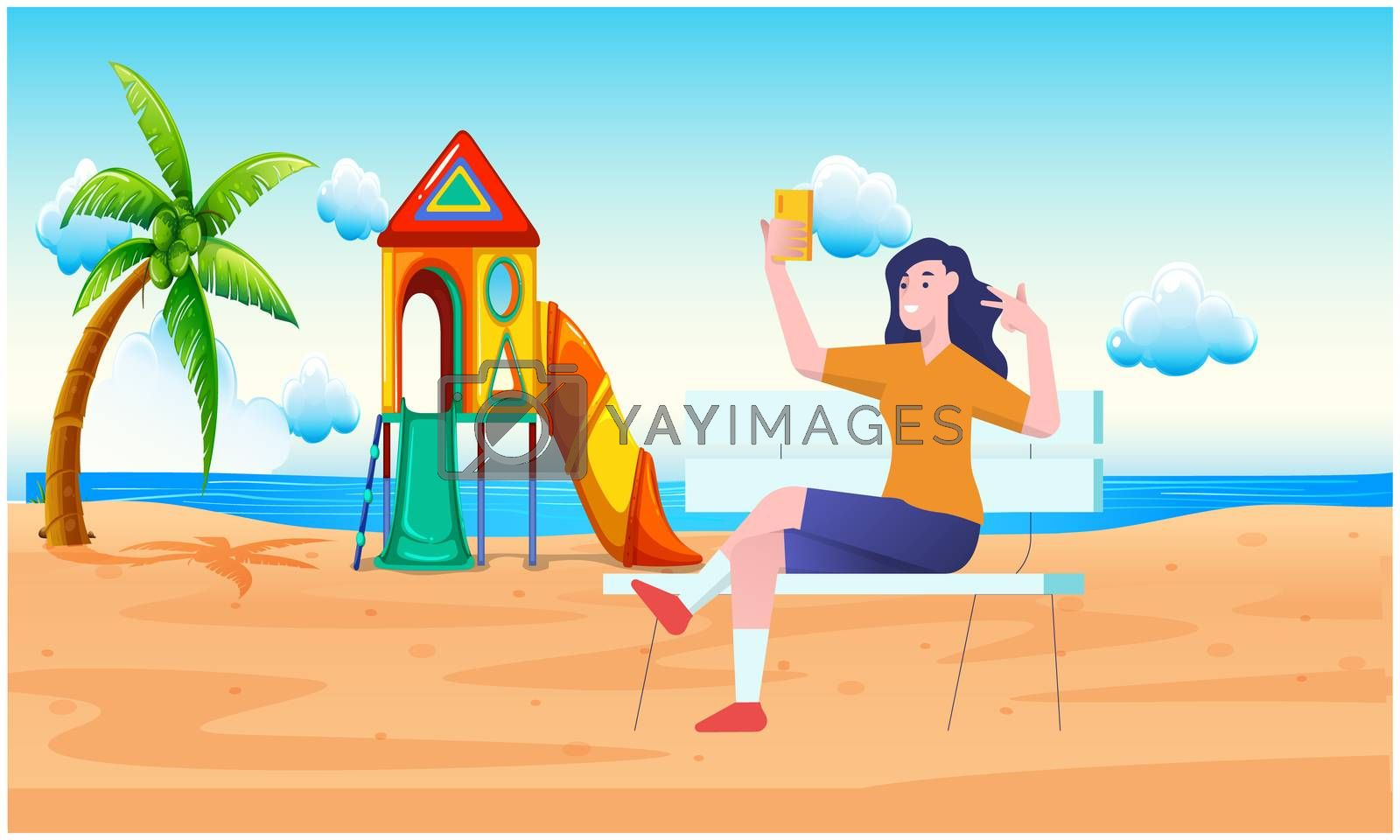girl is sitting on the beach and playing with mobile