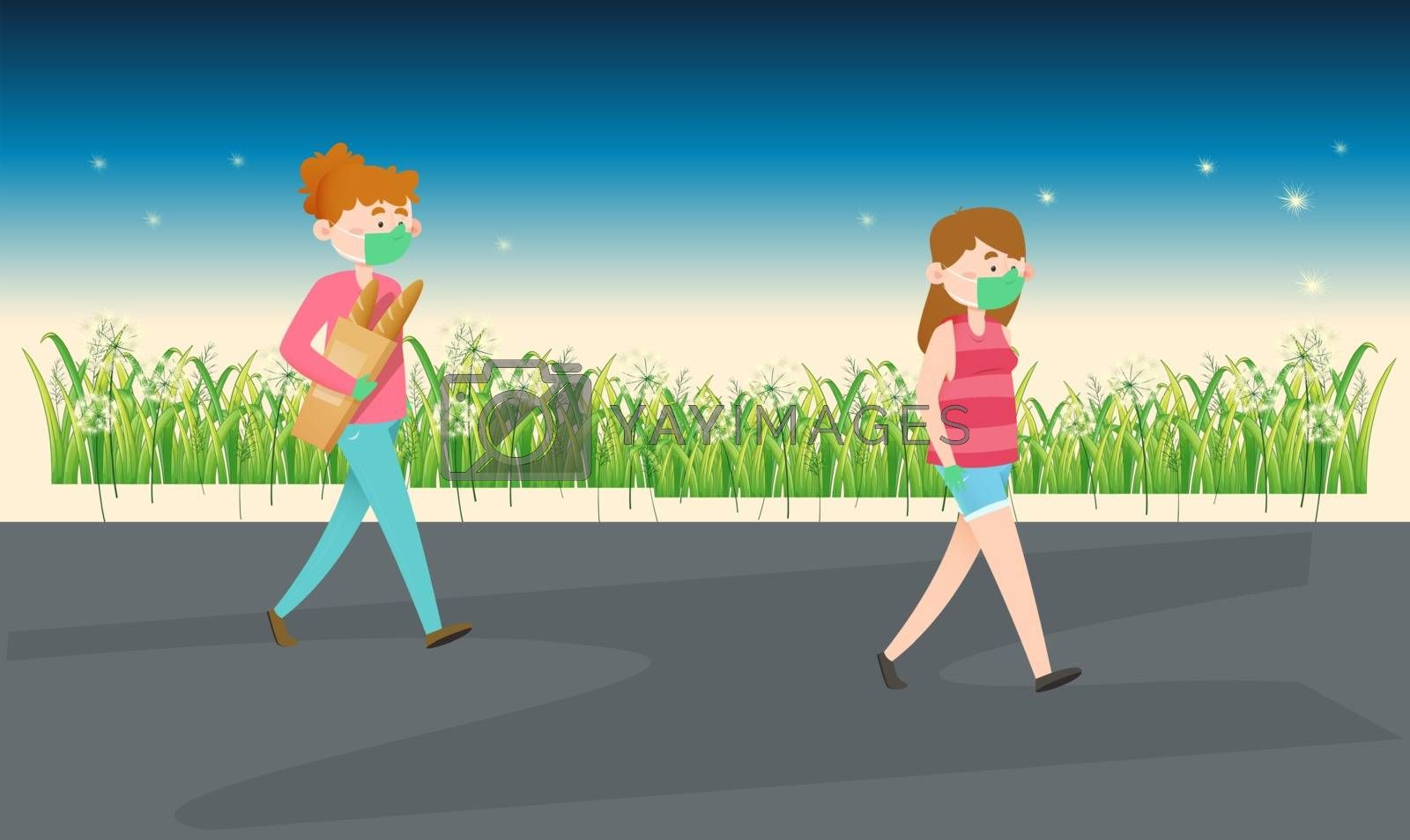 two girls are walking on the road in the evening