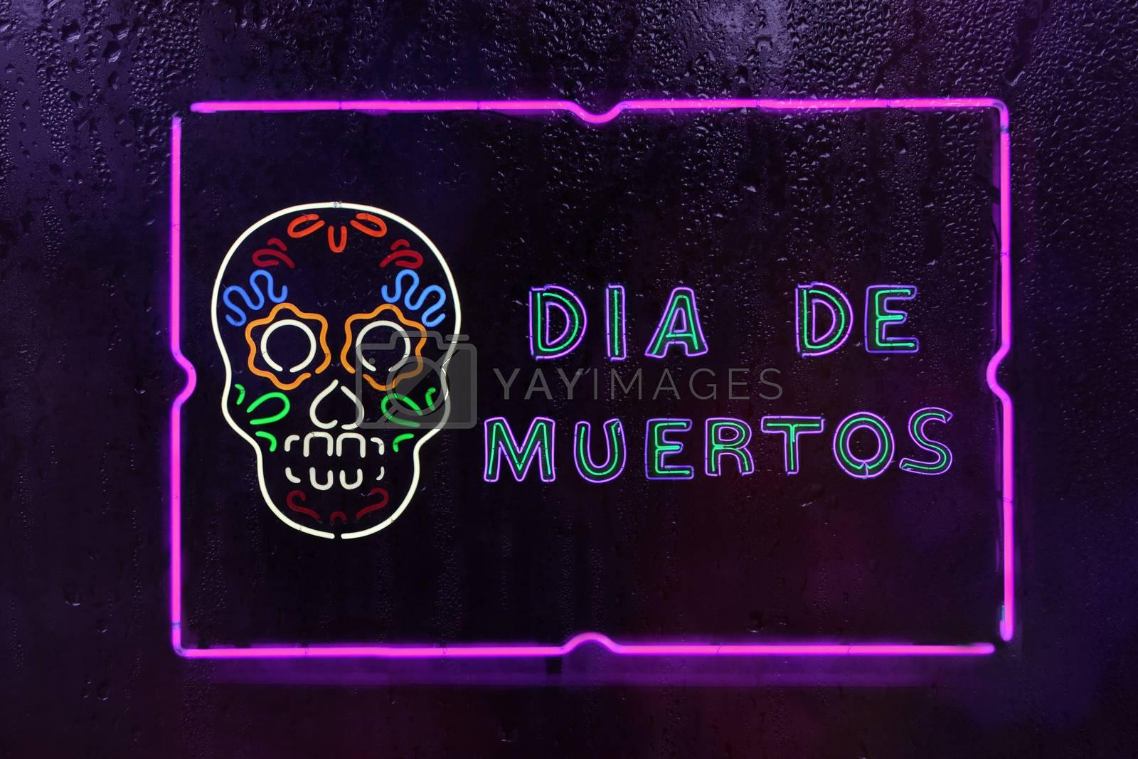 Neon Dia De Muertos Sign Mexican Day of Dead Festival