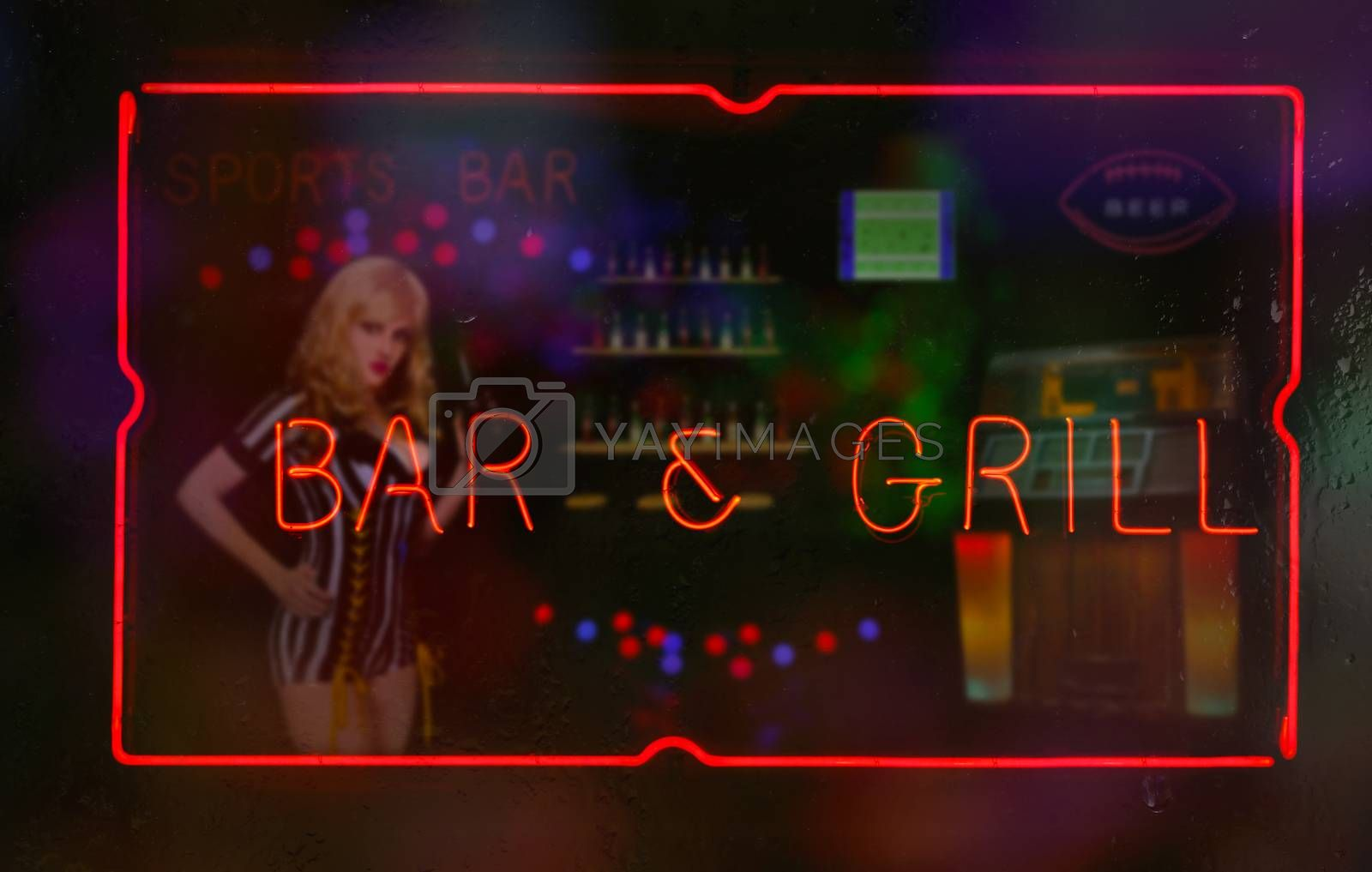 Neon Bar and Grill Sign in Wet Window Sports Bar Theme