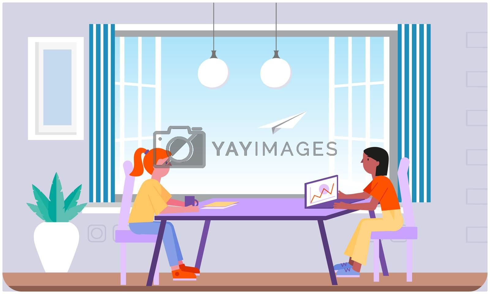 two girls working on laptop in the office