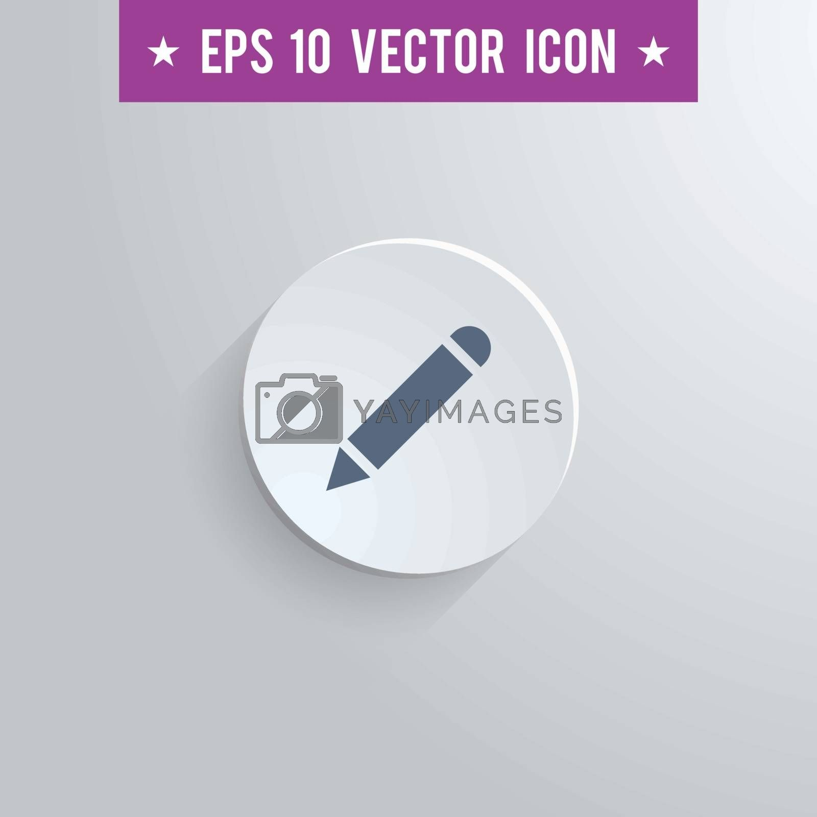 Stylish pencil icon. Blue colored symbol on a white circle with shadow on a gray background. EPS10 with transparency.