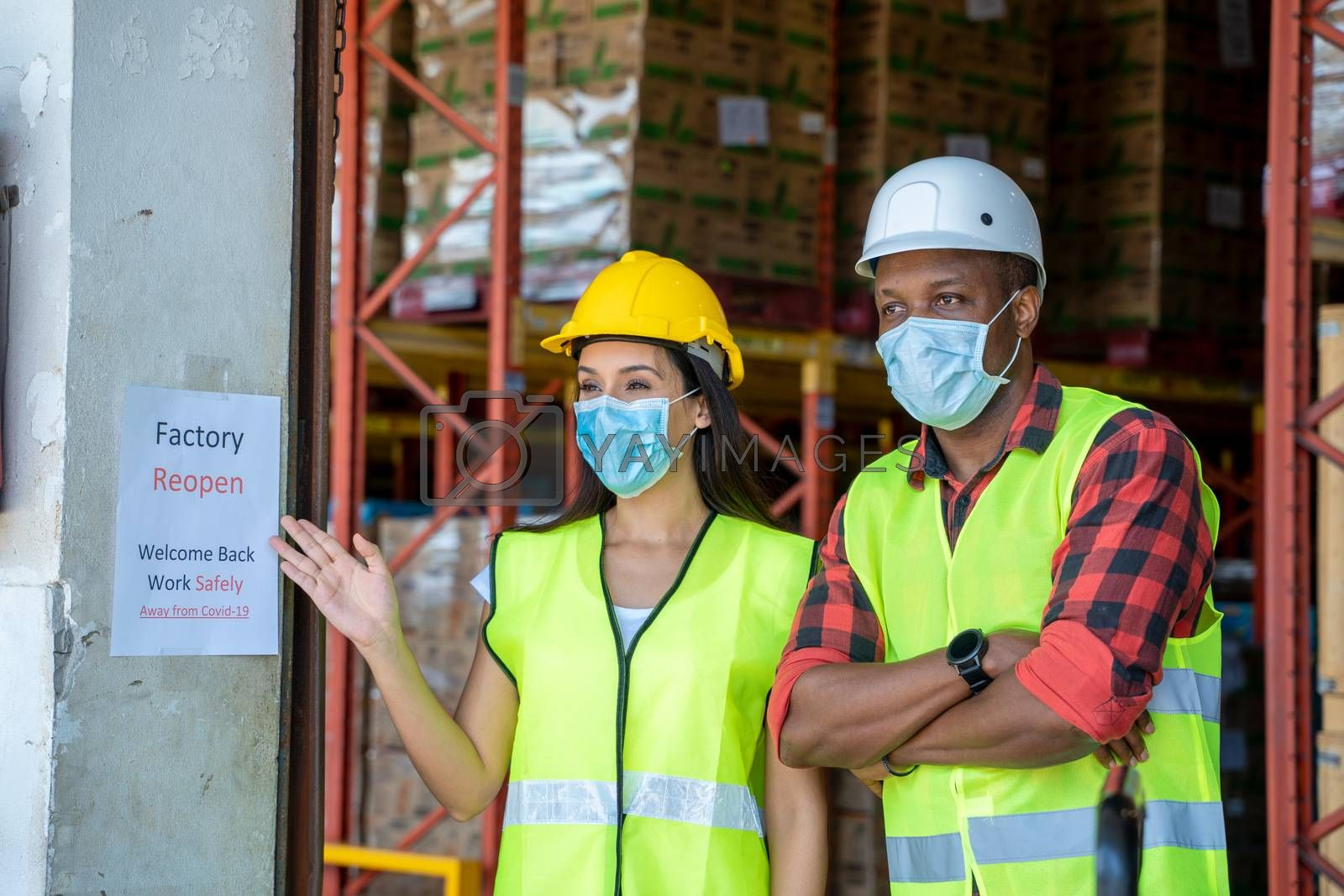 Grup warehouse worker are happy with factory reopen,Welcome back due covid 19 pandemic and current situation is better,Coronavirus has turned into a global emergency.