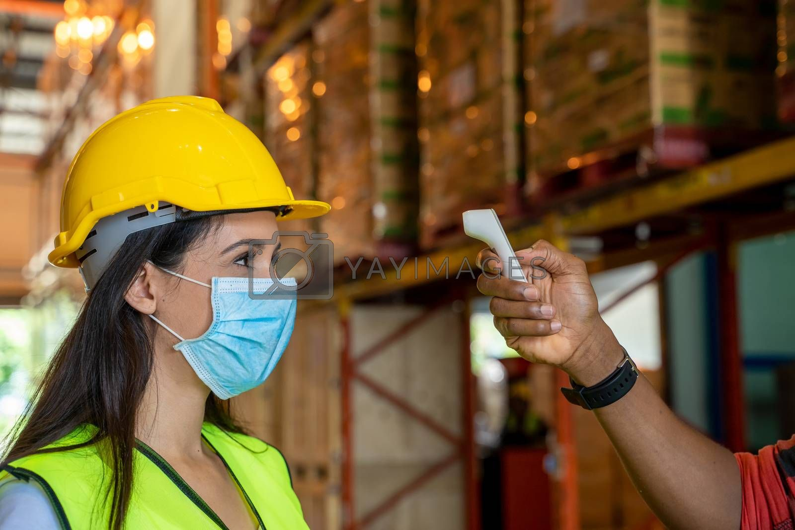 Warehouse worker,Body temperature check, prevent virus Concepts in preventing contagious diseases. Coronavirus [Covid-19],Medical infrared thermometer use body.