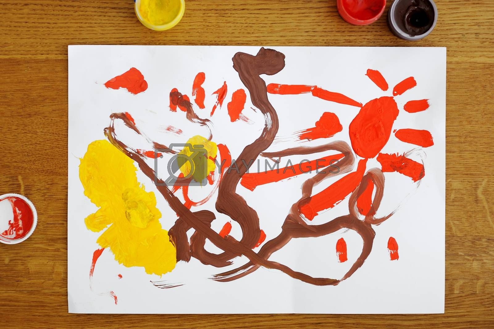 Toddler girl's colorful painting