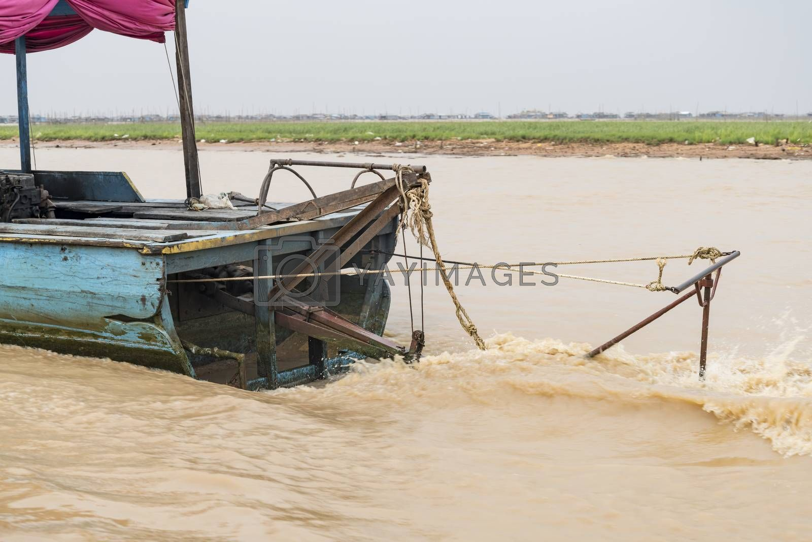 Stern of a Cambodian boat on the Siem Reap river, Siem Reap Province, Combodia