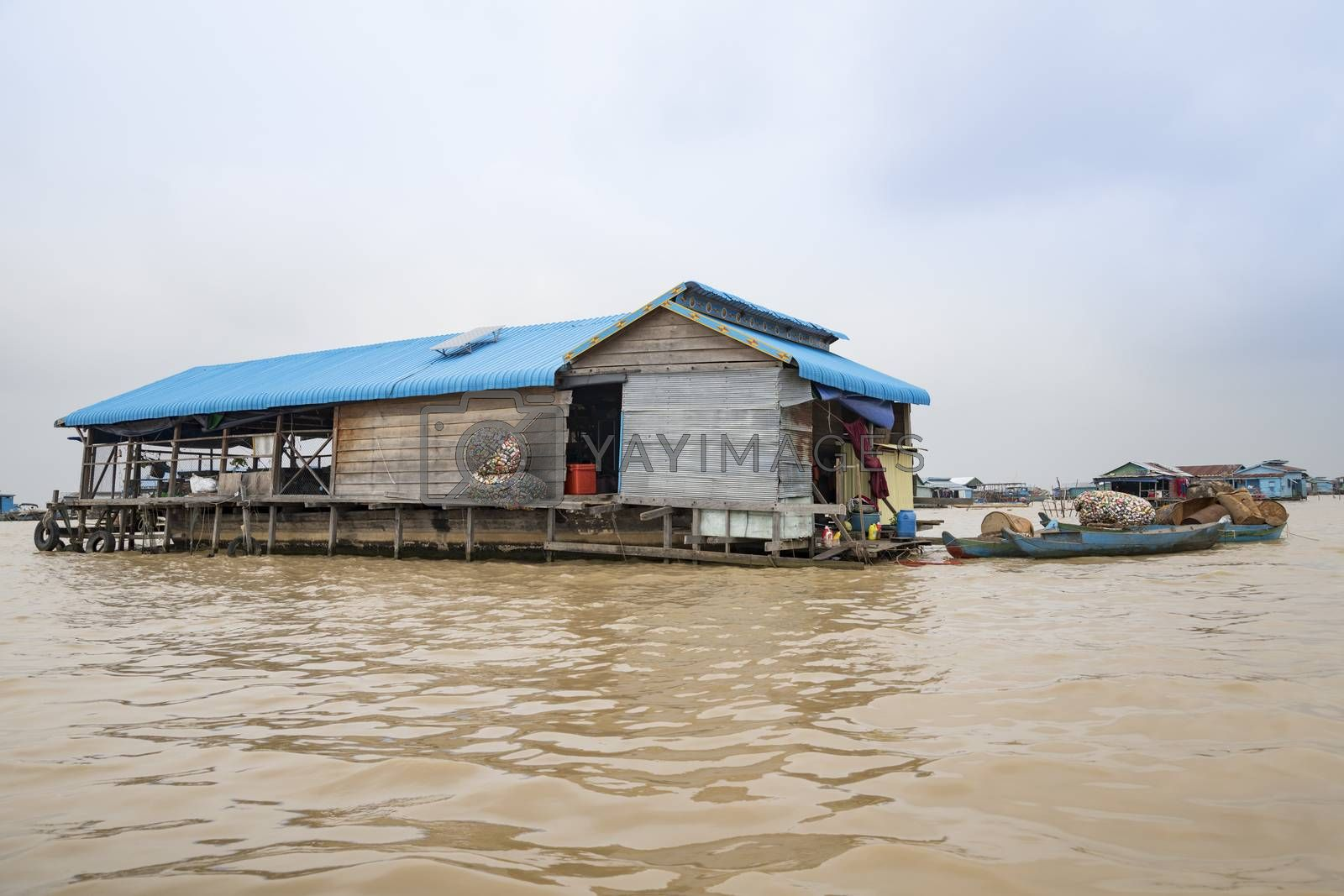 A building of a floating village llying on the Tonle Sap lake, Siem Reap Province, Cambodia