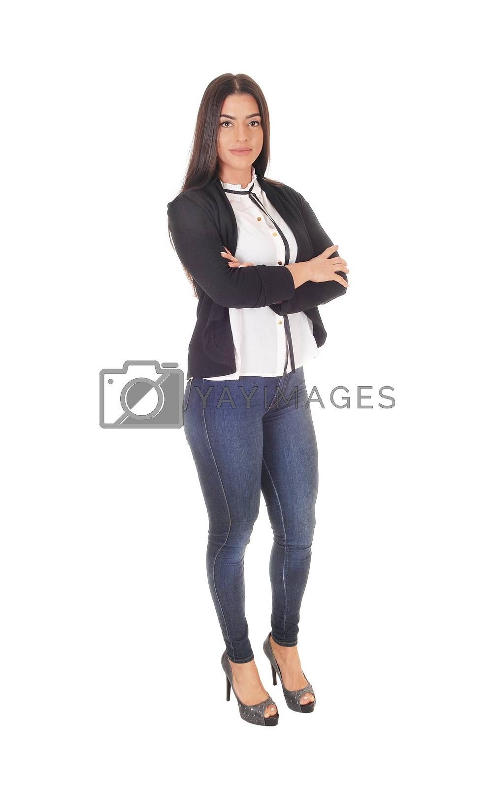 A gorgeous young woman standing in jeans and a black jacket business outfit from the front, isolated for white background