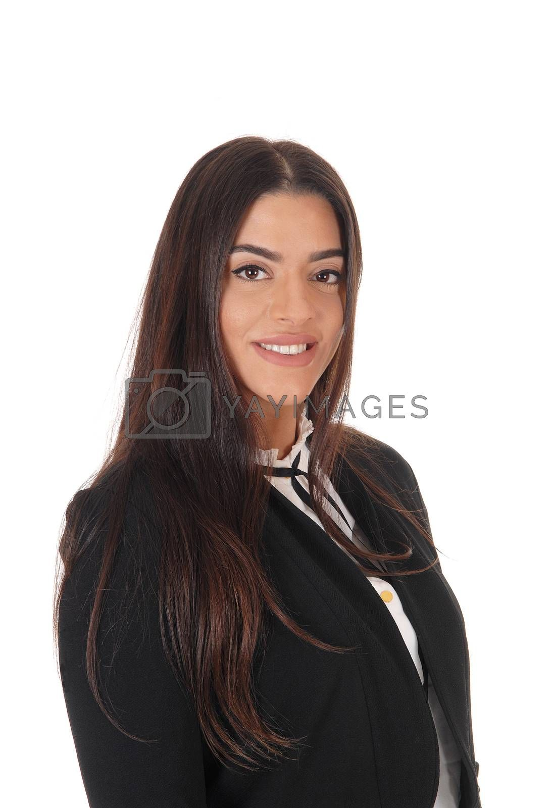 A gorgeous young woman standing in a black jacket with long brunette hair, isolated for white background