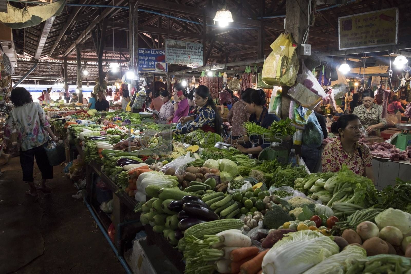 Siem Reap, Cambodia, 28 March 2018. Fruits and vegetables displays at the Fresh Food Market