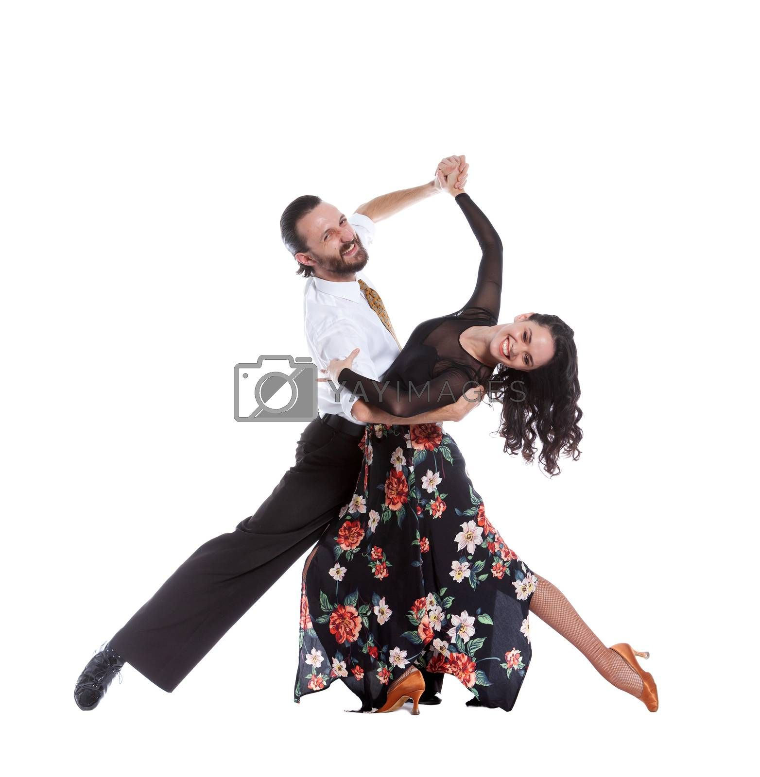 Young people isolated on white background having funny poses.