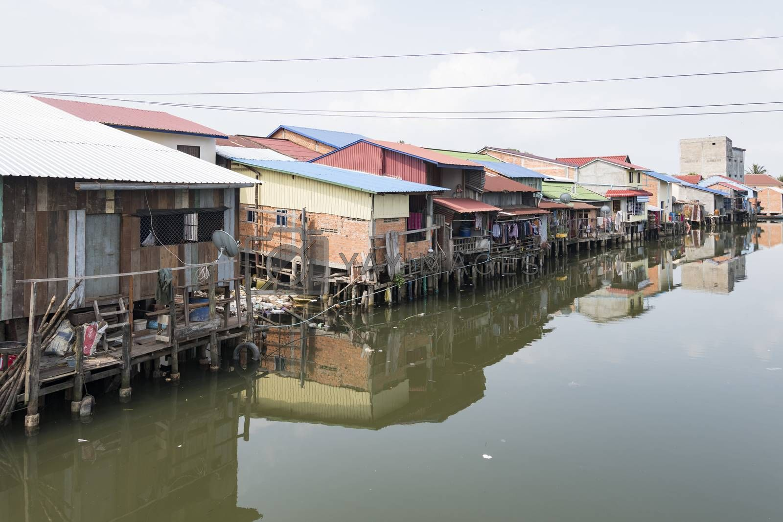 River passing thru a city in Kampot Province, Cambodia, Asia