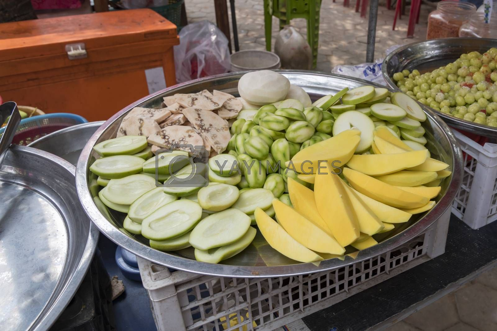 Display of Fresh cut fruits for sale at the famous Crab Market of Kep, Cambodia