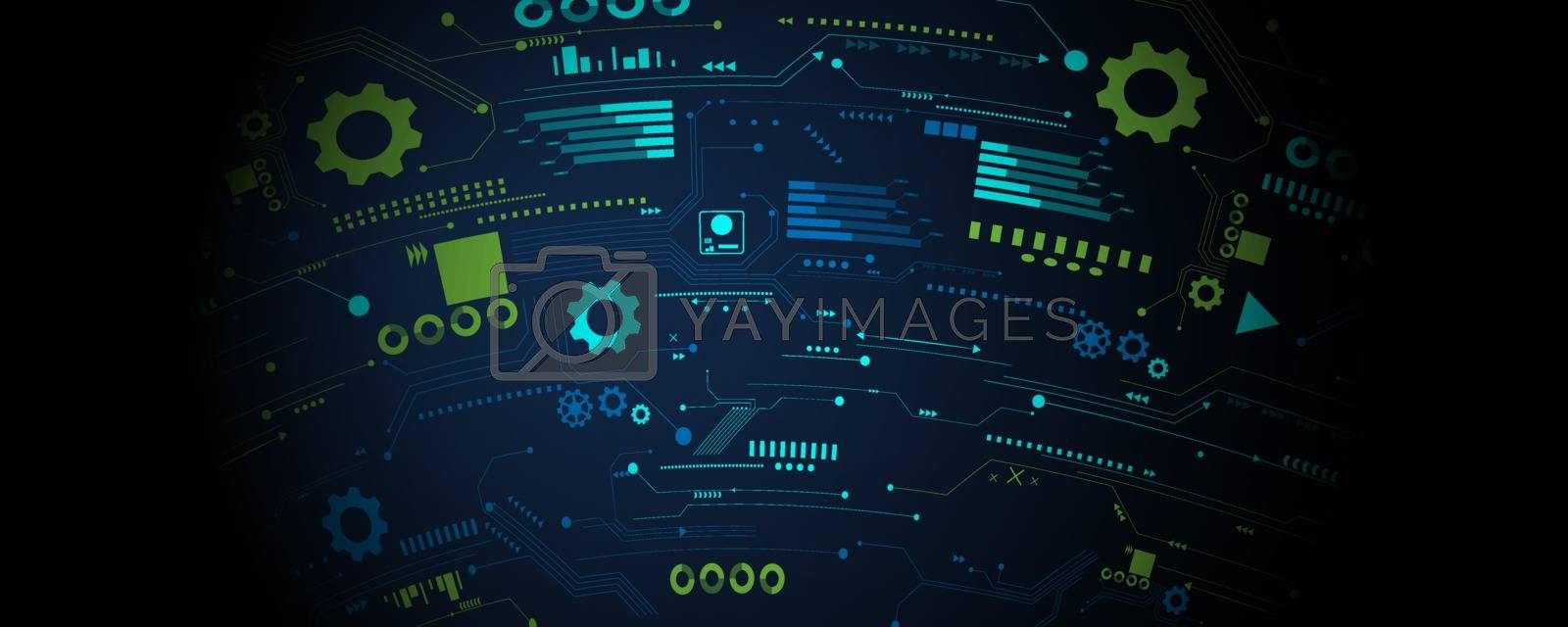 Business technology icons set business and technology vector background