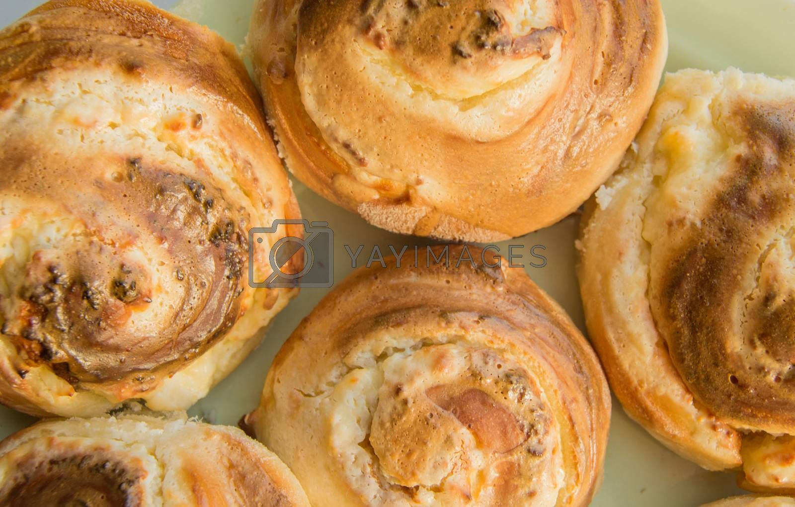 Sweet homemade cakes - delicious freshly baked cinabon top view.