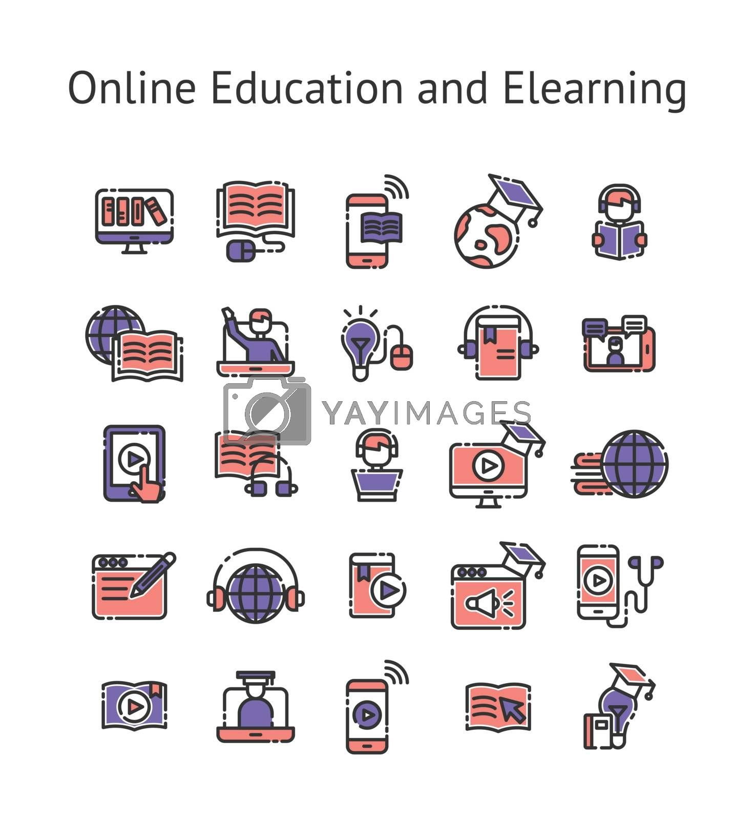 Online Education and Elearning filled outline icon set.