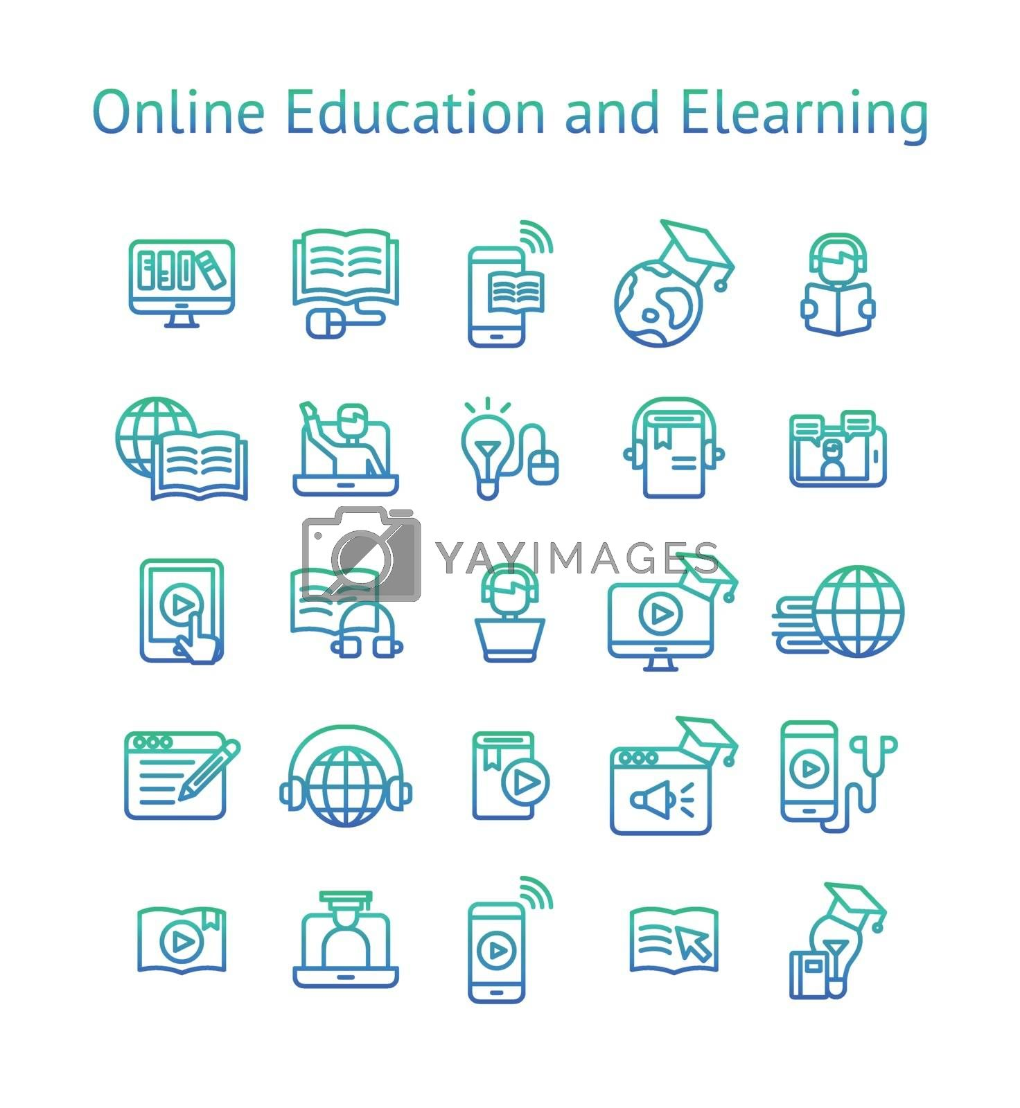 Online Education and Elearning gradient icon set.