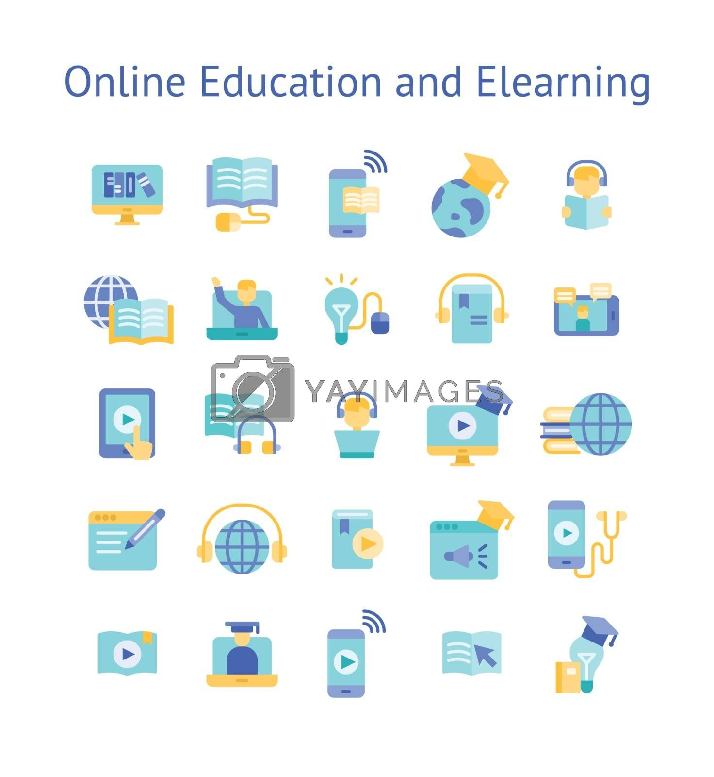 Online Education and Elearning flat icon set.