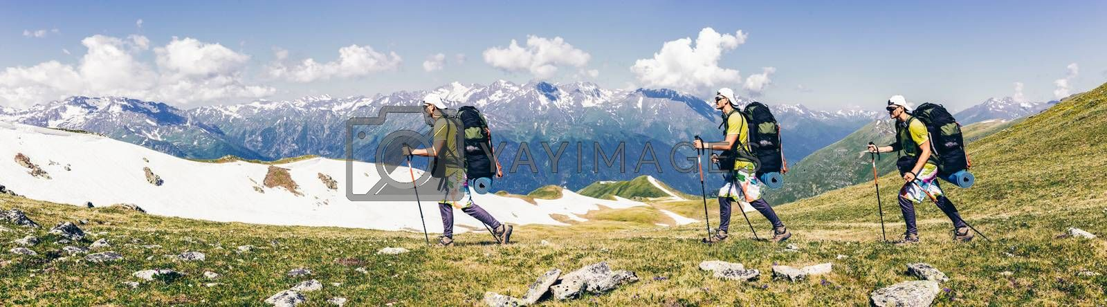 Sports travel background photo collage group of people hipster friends twins relatives on vacation extreme tourist with backpacks on top of mountain Lifestyle Adventure hiking or expedition concept