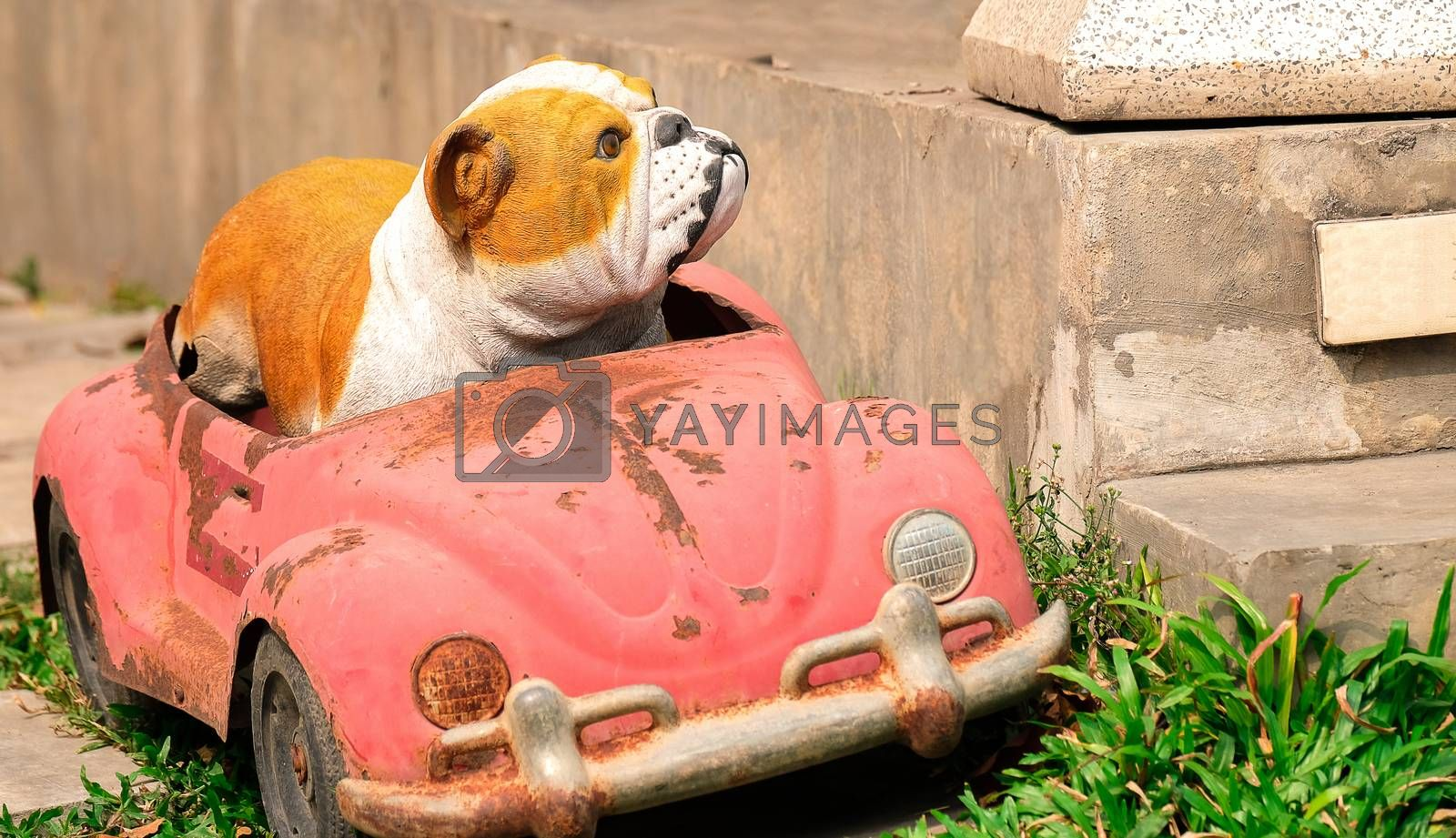 a bulldog model and a car by Nawoot