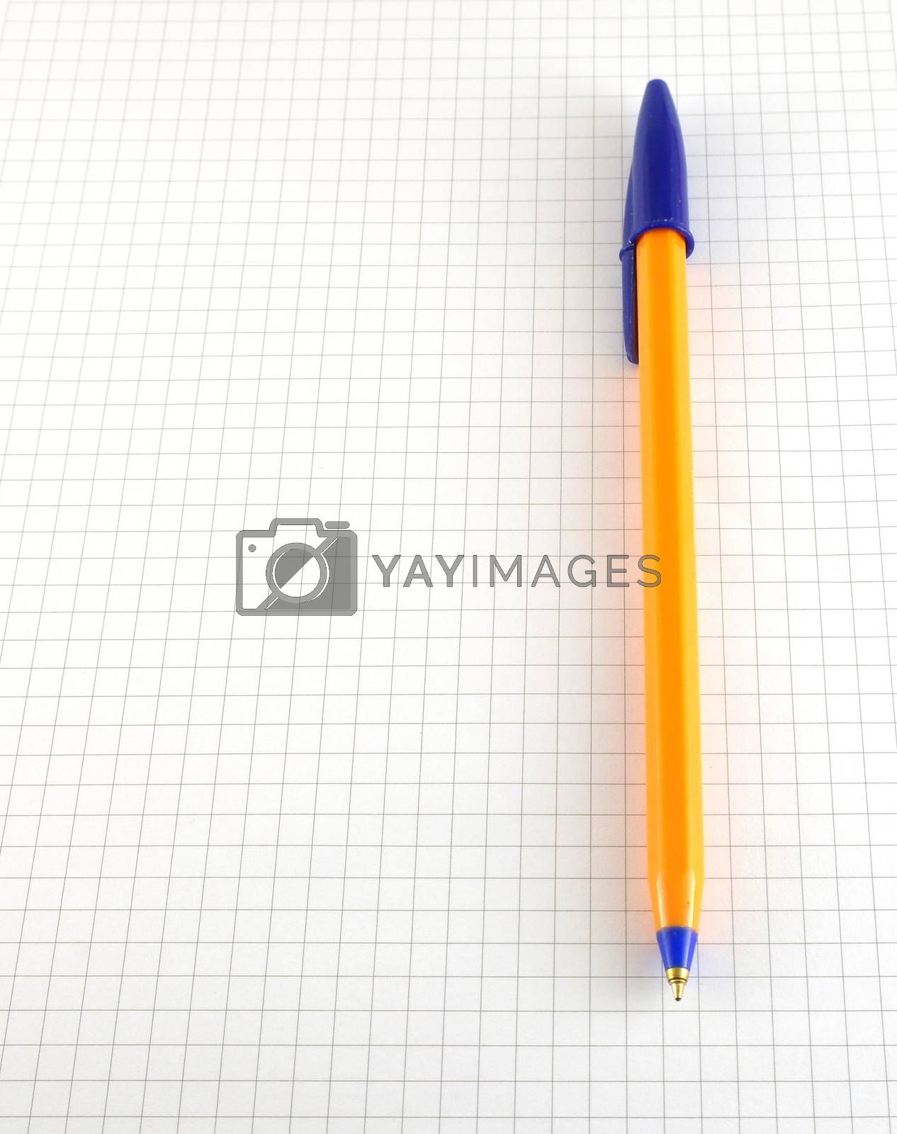 One pen on the checked paper of notepad