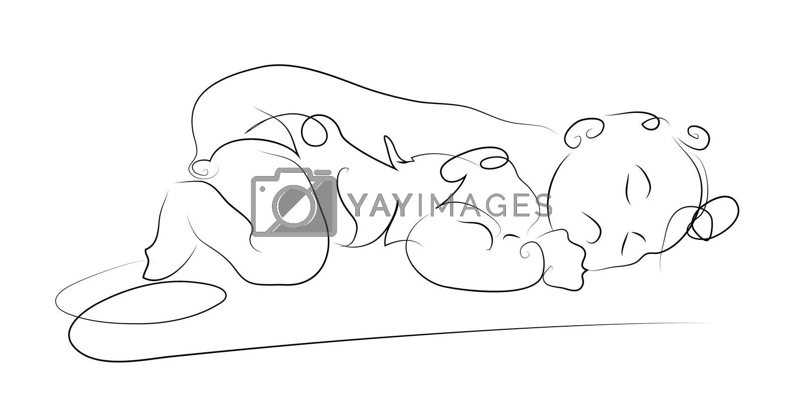sleeping baby made in 2d software isolated on white