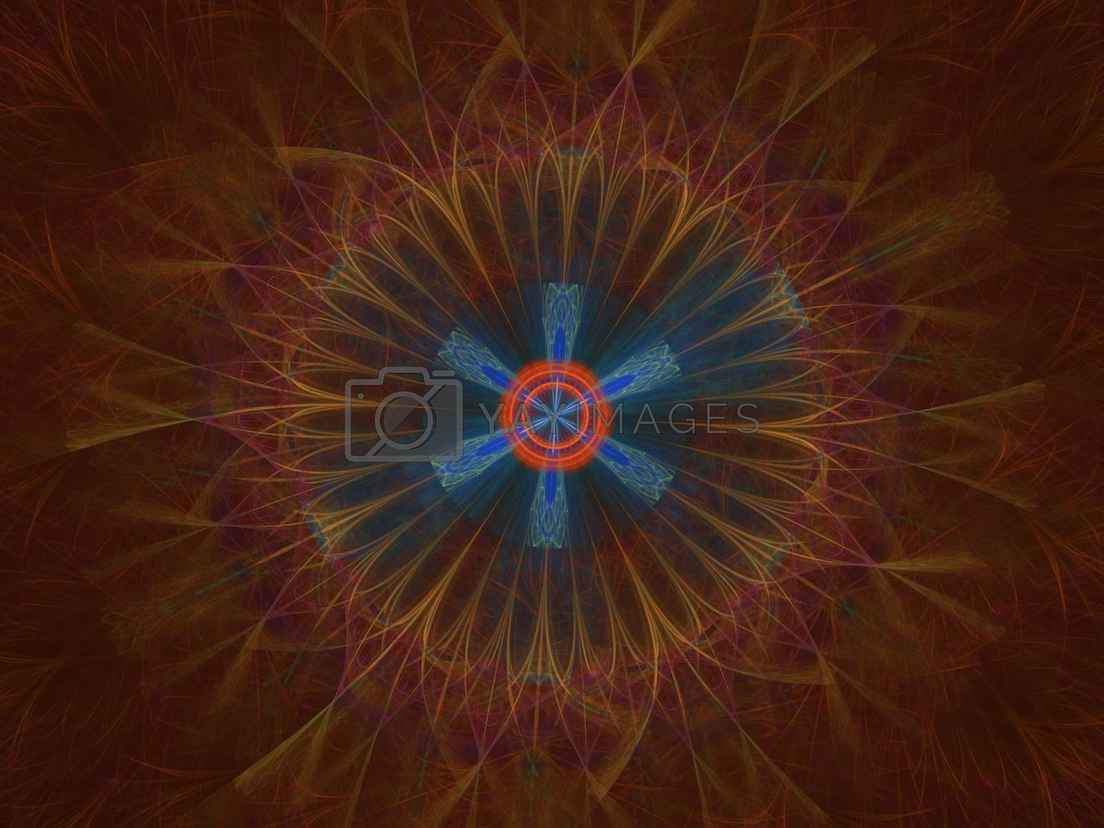 Cosmic geometry. Light phenomena in space. Flash and lightning in the languid air. Abstract fractal mandala illustration. The underlying processes in other galaxies.