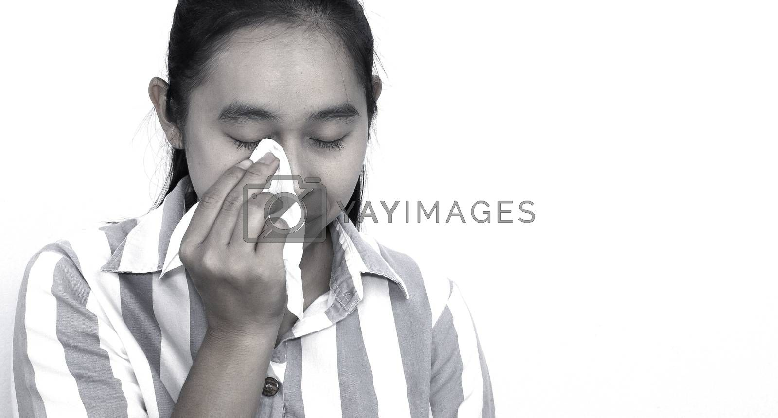 Asian young woman has eyes irritation or eye problemb, using tissue paper wipe tear. Isolated on white background. Health and medical concept.