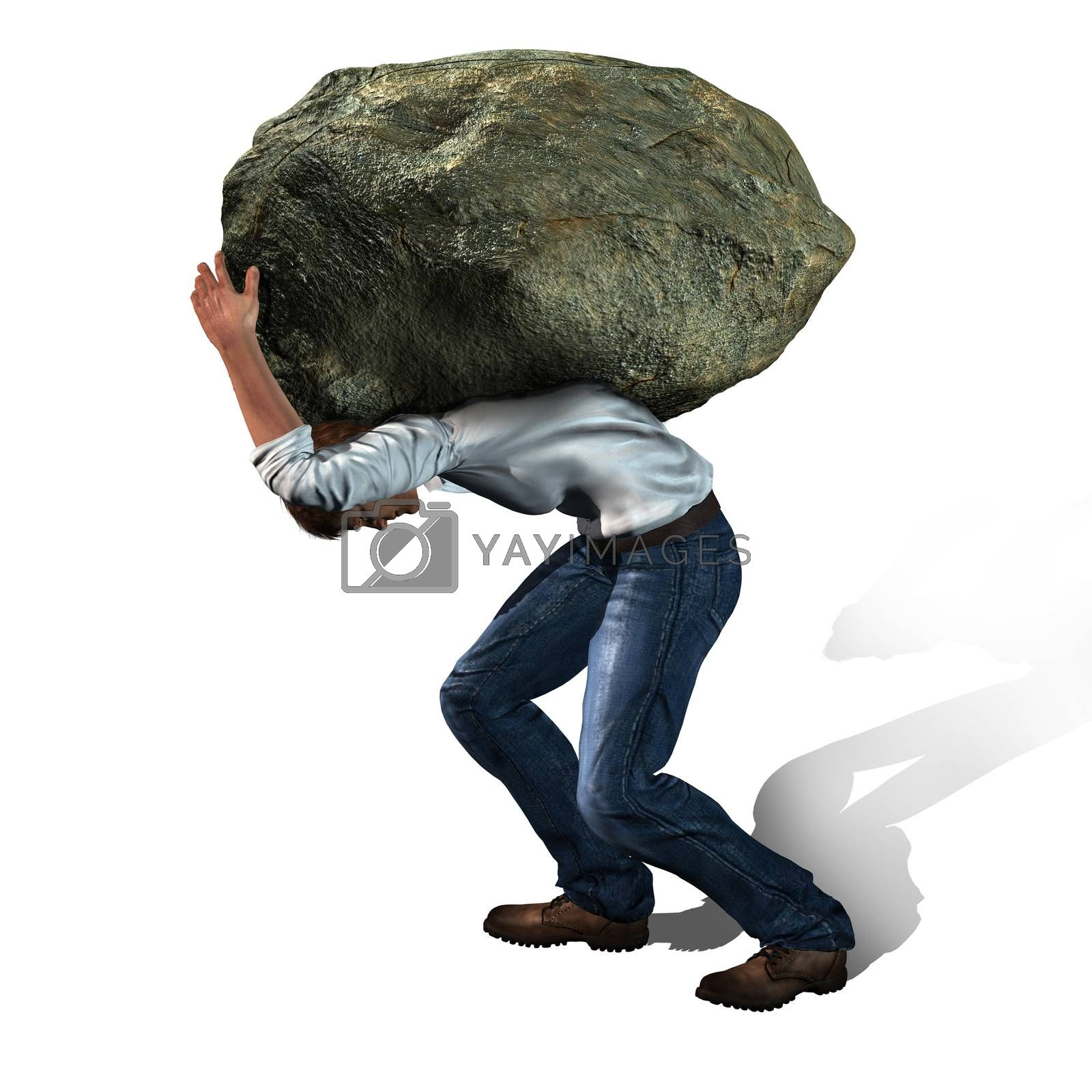Concept of stress -  man with a big rock made in 3d software