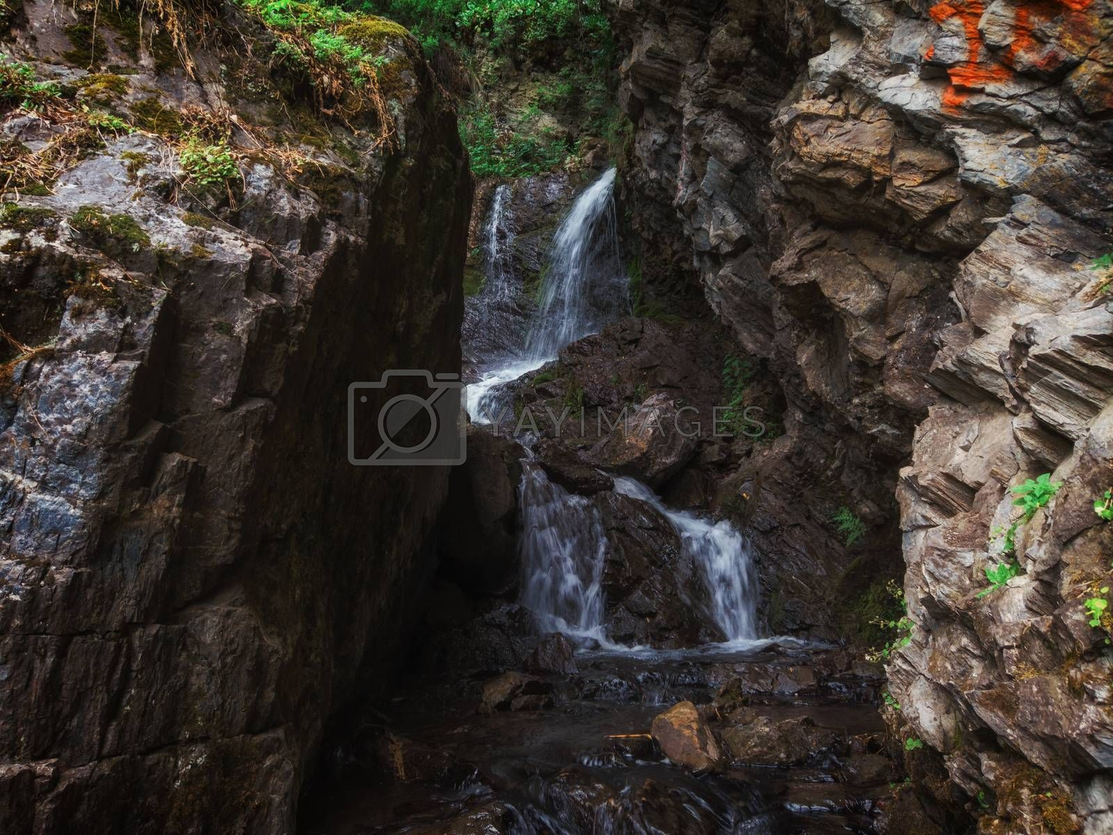 Waterfall Cheremshansky in Altai Mountains territory, West Siberia, Russia