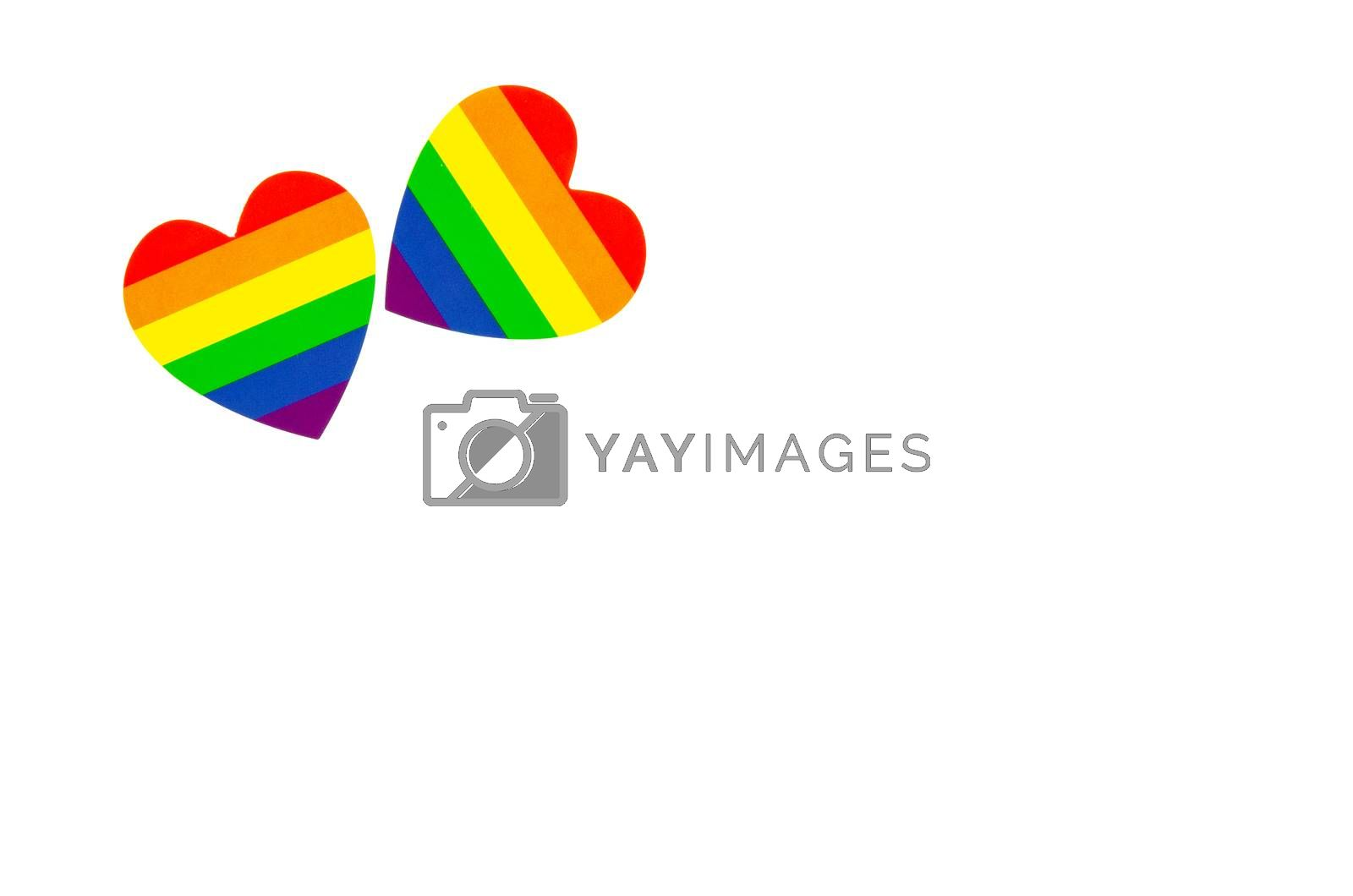 lgbt hearts isolated on white background
