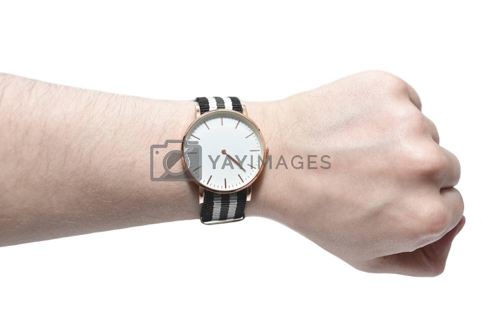Man looking his watch isolated on white background. Time concept