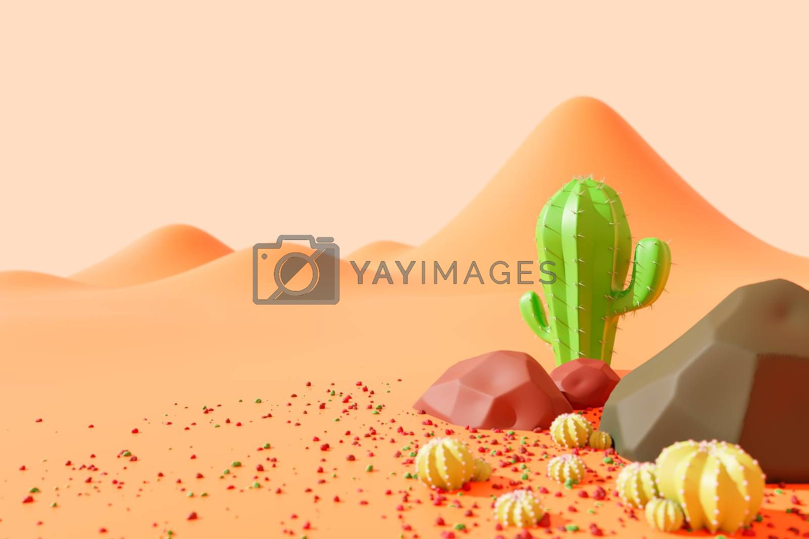 Cactus and rocks on the sweltering desert in the western country. landscape in cute cartoon style. Copy space for your article on the left. Concept of lover and like cactus. 3D illustration rendering.